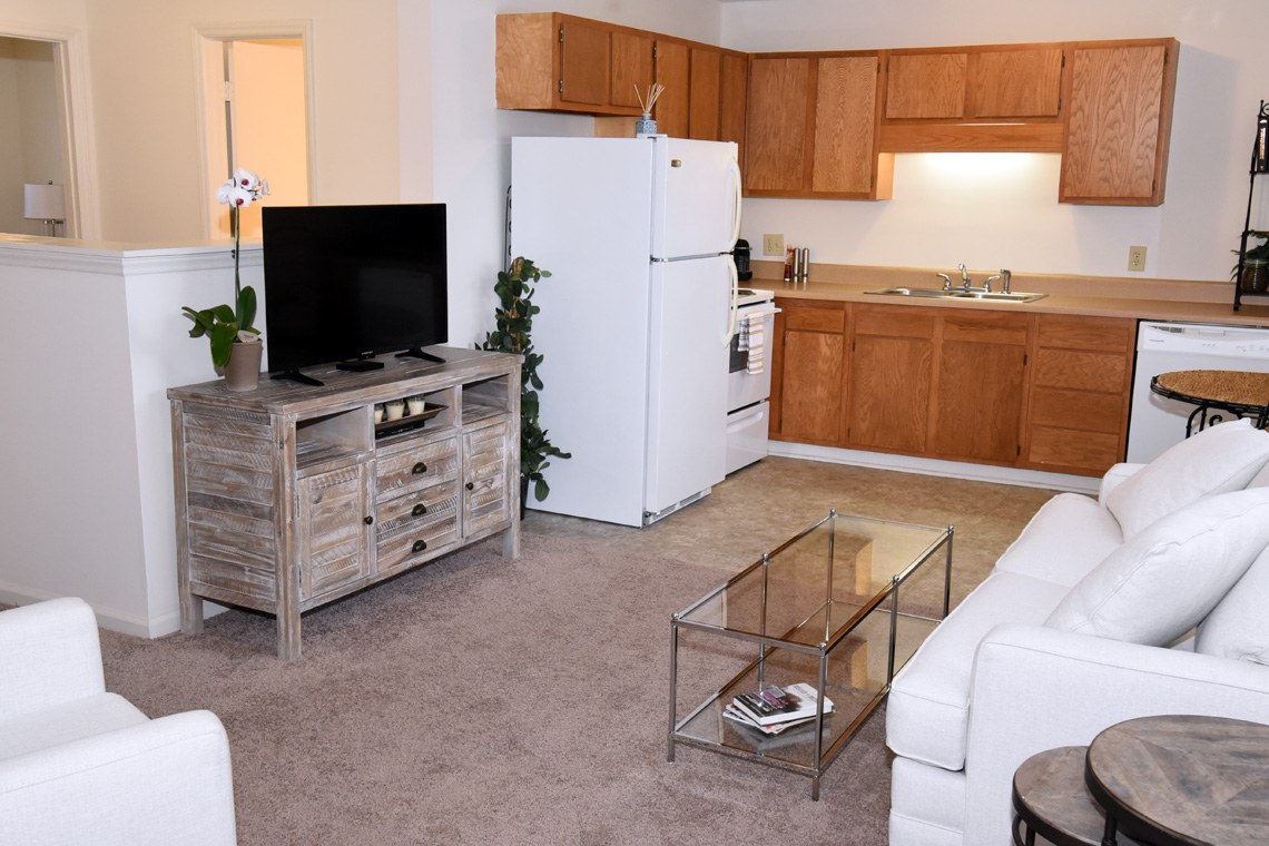 Wesley South at ECU & Brookfield at Lynndale - 2 Bedroom Living & Kitchen Area